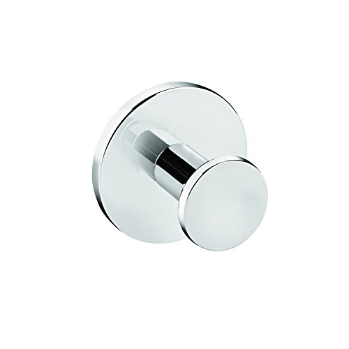 Dormic Bath Collection Round Self-Adhesive Single Towel Robe Hook Hanger Towel Holder, Polished Chrome by Dormic Bath Collection