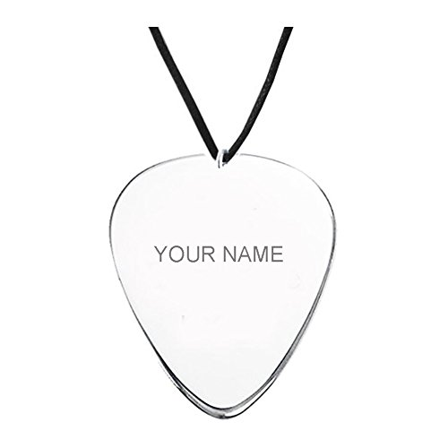 Guitar Pick Name Necklace - Custom Made with any Name! Free engraving / Hand (Custom Made Guitar Picks)