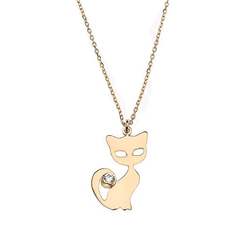 Polished 14k Yellow Gold Cat Charm Cubic Zirconia Pendant Necklace, 16