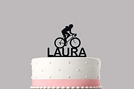 Decoración para tarta de cumpleaños, diseño de bicicleta de ciclista, acrílico personalizado, varios colores y tamaños Artículo de alta calidad, recuerdo. 793: Amazon.es: Hogar