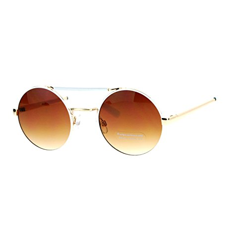 SA106 Womens Top Bridge Round Circle Lens Retro Hippie Sunglasses Gold - Sunglasses Dope