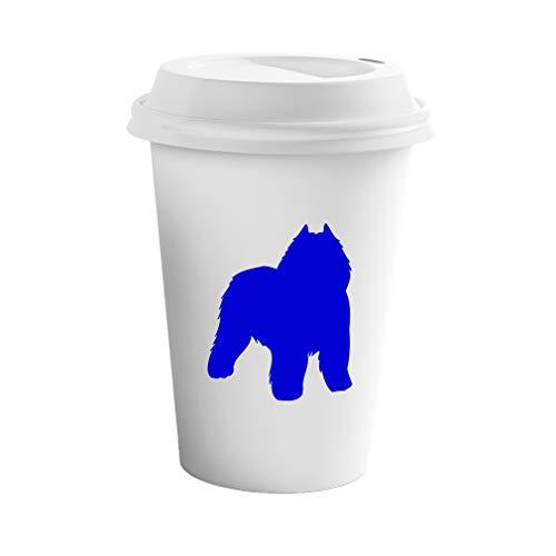 Style In Print Royal Blue Bouvier Des Flandres Silhouette Ceramic Coffee Tumbler Travel Mug