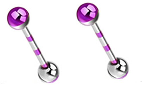 (Nipple Ring Duo-Tone Striped Barbell Titanium IP 316L Surgical Pair)