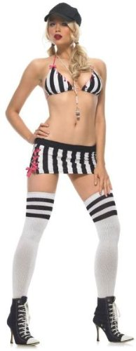 Women'S Costume: Head Referee, Sexy- Extra Small - Product Description - Black And White Striped Bra Top, Mini Skirt With Ribbon Tie Sides, Thigh Highs, Whistle And Hat. Adult Women'S Extra Small Fits Size 0-2. (Head Referee Costume)