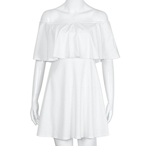 Vovotrade Mujer Dulce de verano de Falbala de los vestidos del hombro vestido sin mangas de la colmena blanco