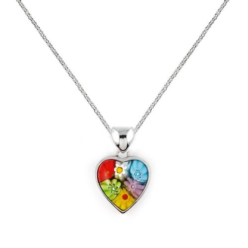 Murano Glass Heart Necklace (Small Millefiori Murano Glass Heart Necklace)