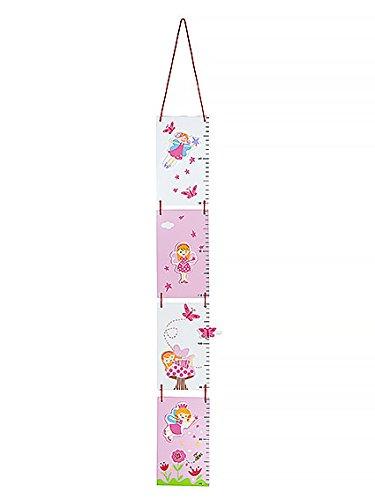 Gr/áfico de crecimiento infantiles hecho de madera con decoraci/ón de hadas en rosa y blanco para la habitaci/ón de las ni/ñas