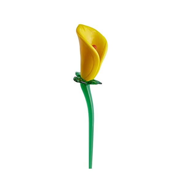 "Yellow Glass Calla Lily Flower, One-of-a-kind, Life Size 14"" long. FREE SHIPPING to the lower 48, when you spend over $35.00"
