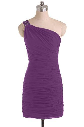 TOSKANA BRAUT Einfach One-Shoulder Abendkleider Kurz Chiffon Cocktail Party Brautjungfern Abiballkleider Violett2