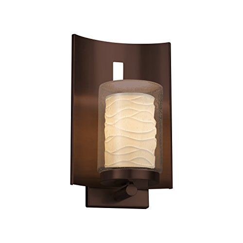 Limoges - Embark 1-Light Outdoor Wall Sconce - Cylinder with Flat Rim Translucent Porcelain Shade with Waves Design - Dark Bronze Finish