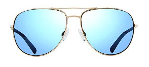 Revo Polarized Sunglasses Tarquin Aviator Frame 61 mm, Gold, Blue Water (Revo Aviator)
