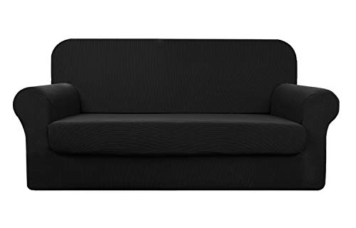 YUUHUM Stripes Couch Covers 2-Piece Super Stretch Sofa Covers Pet Dog Couch Slipcovers (Sofa, Black)