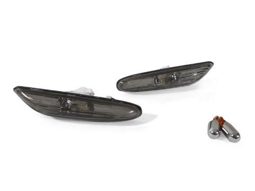 REVi MotorWerks Front Smoke Fender Side Marker Lights by DEPO + Chrome Amber Bulbs fit for 2006-2011 BMW E90/91/92/93 Models