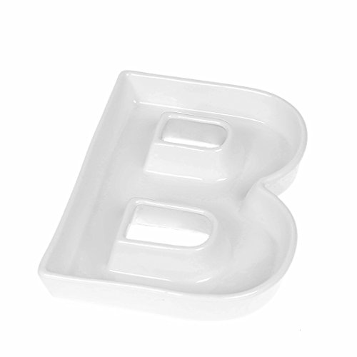 Coffeezone Ceramic Letter Dish & Plates for Candy/Nuts Ideas, Wedding Party Decor (Letter B)