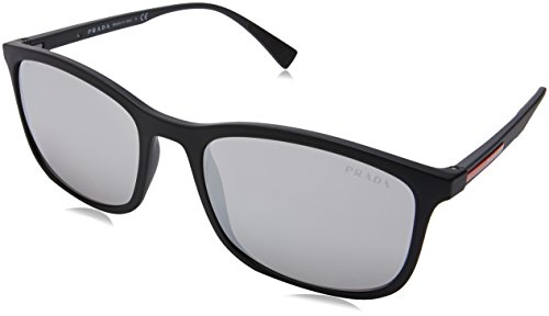 Prada Linea Rossa  Men's 0PS 01TS Black Rubber/Light Grey Mirror Silver One Size (Sunglasses Rossa Linea Prada)
