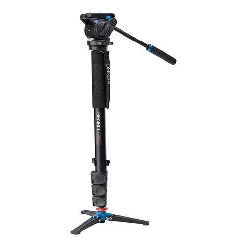 Benro Aluminum 4 Series Flip-Lock Video Monopod Kit w/ 3-Foot Articulating Base and S4 Video Head (A48FDS4)