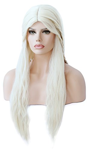 Game of Thrones Cosplay Wig Mother of Dragons Daenerys Targaryen khaleesi Costume Halloween Long Curly (Khaleesi Halloween)