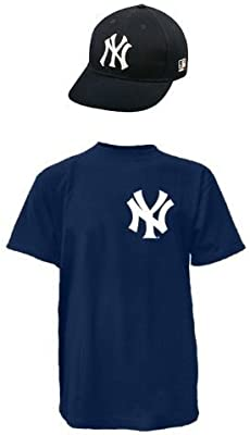 9a7af0e5e72 Amazon.com   NEW YORK YANKEES MLB Cap   Jersey (Official Major League  Baseball Replica Hat   100% Cotton Crewneck T-Shirt)   Sports Fan Jerseys    Clothing