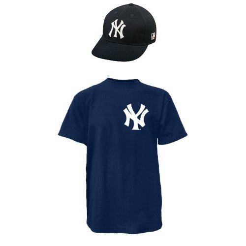 NEW YORK YANKEES MLB Cap & Jersey (Official Major League Baseball Replica Hat & 100% Cotton Crewneck T-Shirt)