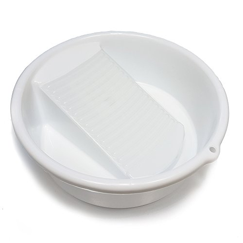 - Small White Washing Bowl / Basin with Integrated Washboard _ 10