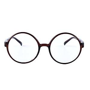 Agstum Retro Round Glasses Frame Clear Lens Fashion Circle Eyeglasses 52mm (Brown, 52mm)