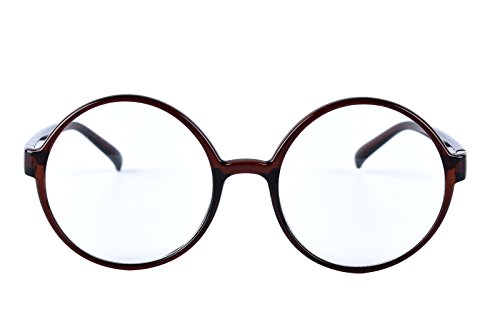Agstum Retro Round Glasses Frame Clear Lens Fashion Circle Eyeglasses 52mm (Brown 52mm)