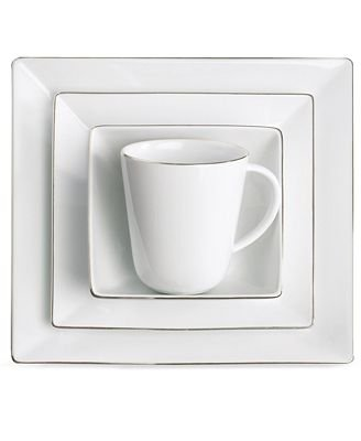 Charter Club Dinnerware, Grand Buffet Platinum Fine Line Square 4 Piece Place Setting (Place Setting 4 Piece Platinum)