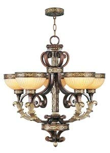 Livex Lighting 8545-64 Seville - Five Light Chandelier, Palacial Bronze/Gilded Accent Finish with Hand Crafted Gold Dusted Art Shade