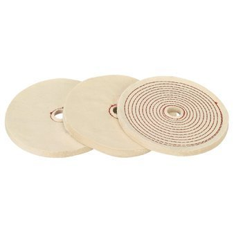 8 inch Spiral Cotton and Flannel Buffing Wheel Set; Includes 1/2'' and 3/4'' arbor bushings