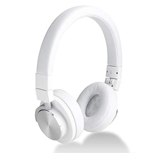RYRYBH Heavy Bass Remote Control Earphone, 3.5mm Mobile Phone Notebook Folding Earphone, Hot Pressure Protein Earmuffs + Adjustable Head Beam, Headset (Color : White) ()