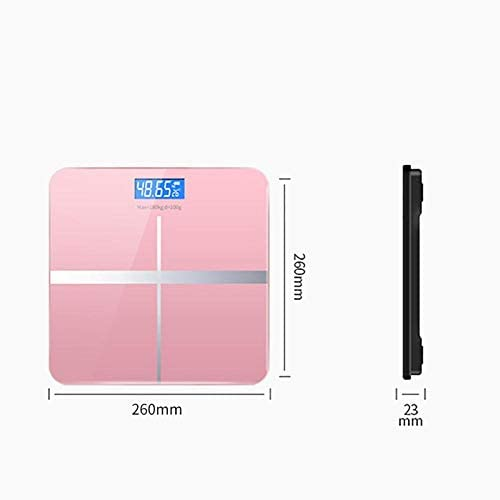 PRWJH Intelligent Electronic Scale, Digital Temperature Bathroom Scale, 180Kg, Pink