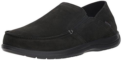 Crocs Men's Santa Cruz Convertible Leather Slip-On Loafer Flat, black/black, 11 Crocs Santa Cruz Men