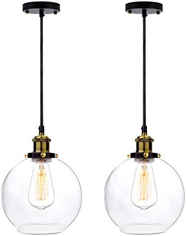 Frideko 2 Pack of Vintage Ball Glass Ceiling Pendant Light -7.8 inch Industrial Style Globe Glass Lampshade Hanging Fixture Lighting with Adjustable Cord Length for Kitchen Island Dining Room 20cm
