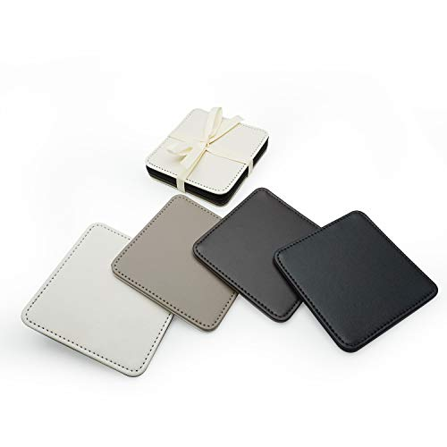 Faux Leather Coasters for Drinks - Reversible Leather Coaster Set of 4-4 Inch Square Coasters(Assorted Colors)