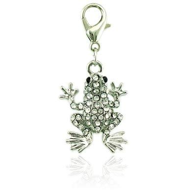 rms 2 Color Rhinestone Lobster Clasp Frog Charms DIY Pendants Jewelry Accessories - by Mct12-1 PCs ()