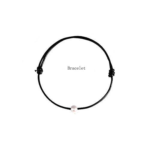 BEAUTY CHARM Single Cultured Freshwater Pearl Bracelet on Genuine Black Leather Cord for Women Girls Adjustable ()