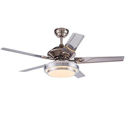 Akronfire Modern Stainless Steel Ceiling Fan with 5 Reversible Blades Remote Control Silent Fans Chandelier for Decorate Living Room/Dining Room/Indoor 52 Inch by Akron Fire