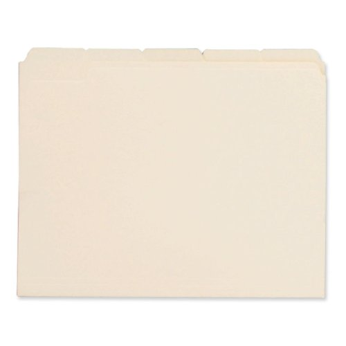 File Folders, 1/5 Cut Assorted, One-Ply Top Tab, Letter, Manila, 100/Box, Sold as 1 Box 1/5 Cut Top Tabs