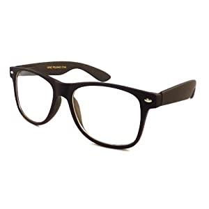 RETRO Nerd Oversized Trendy Frame Clear Lens Eye Glasses BLACK MATTE