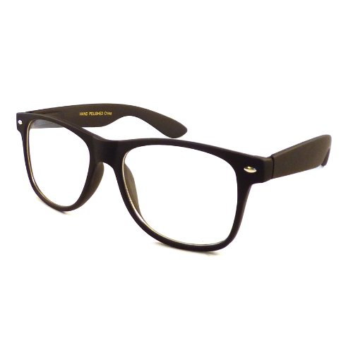 RETRO Nerd Oversized Trendy Frame Clear Lens Eye Glasses BLACK - Matte Glasses Black