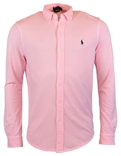 Polo Ralph Lauren Men's Long Sleeve Featherweight Mesh Button Front Shirt (Pink, Small)