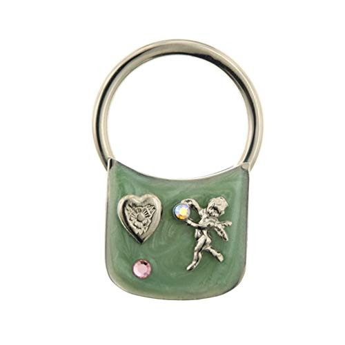 1928 Jewelry Silver-Tone Enamel with Heart and Angel Crystal Key ()