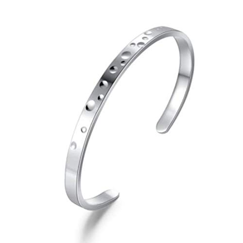 Carleen 925 Sterling Silver Open Hammered Cuff Bracelet Bangle Fine Jewelry for Women Girls, Adjustable As Needed