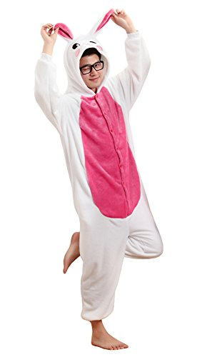 Tonwhar Bunny Onesie Pajamas Costume Cosplay Homewear Lounge Wear (L(Height:170cm/5.57'-180cm/5.9'), Rose) ()