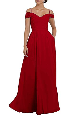 10c7ce39d6 ... Off Shoulder Long Chiffon Bridesmaid Dress Pleated Prom Gowns Evening Dress  Burgundy 20.   