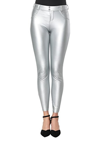 DALLNS Faux Leather PU Elastic Shaping Hip Push Up Pants Black Sexy Leggings for Women (((Size 10-12) X-Large), Silver) (Spandex Jeans Metallic)