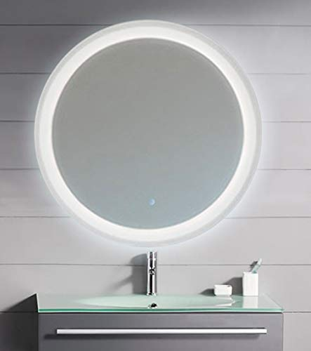 """KAASUN 26"""" LED Lighted Round Mirror Wall Mount Circle Illuminated Bathroom Vanity Mirror with Anti-Fog Demister Pad Built in Touch Switch"""