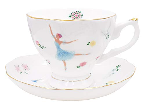 (ZEALAX Floral Bone China Teacup and Saucer Set British Tea Cup Coffee Cup, Ballet Dancer Girls)