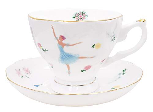 Floral China Teacup (ZEALAX Floral Bone China Teacup and Saucer Set British Tea Cup Coffee Cup, Ballet Dancer Girls)