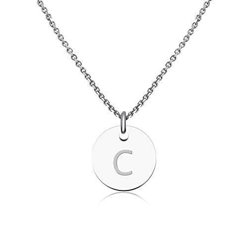 De Letras Plata C S letra Inoxidable Collar En Iniciales Letra Con Acero IBqn5PSt